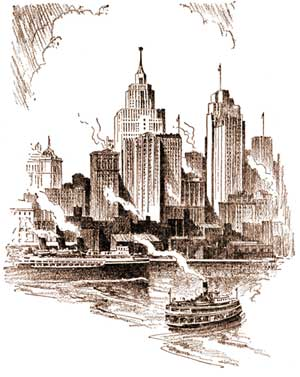 Detroit skyline in the early 1900s.