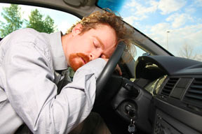 A man who is always tired because he has sleep apnea, falls asleep at the wheel while driving.