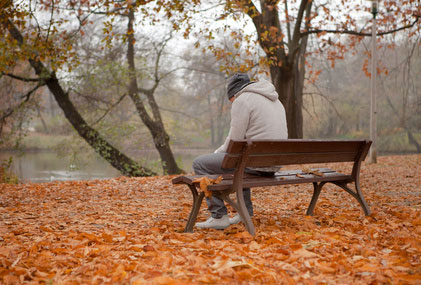 Man in late fall with sad disorder